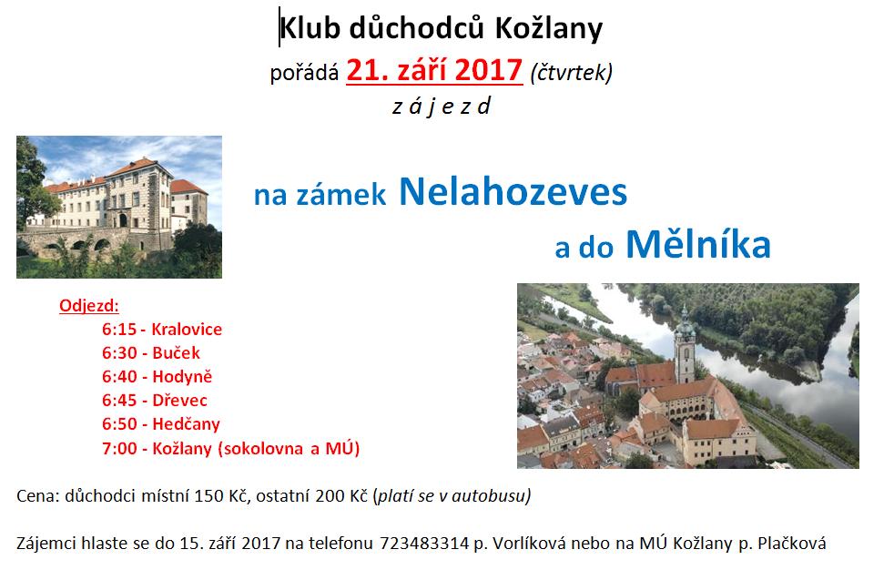 Klub důchodců Kožlany - Zájezd na zámek Nelahozeves a do Mělníka 1