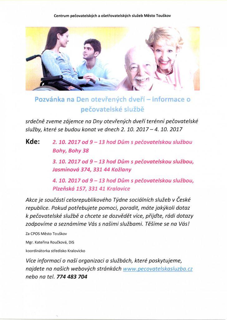 Pozvánka na Den otevřených dveří - Dům s pečovatelskou službou Kožlany, Kralovice, Bohy 1