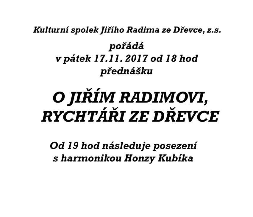 Přednáška o Jiřím Radimovi ze Dřevce 1