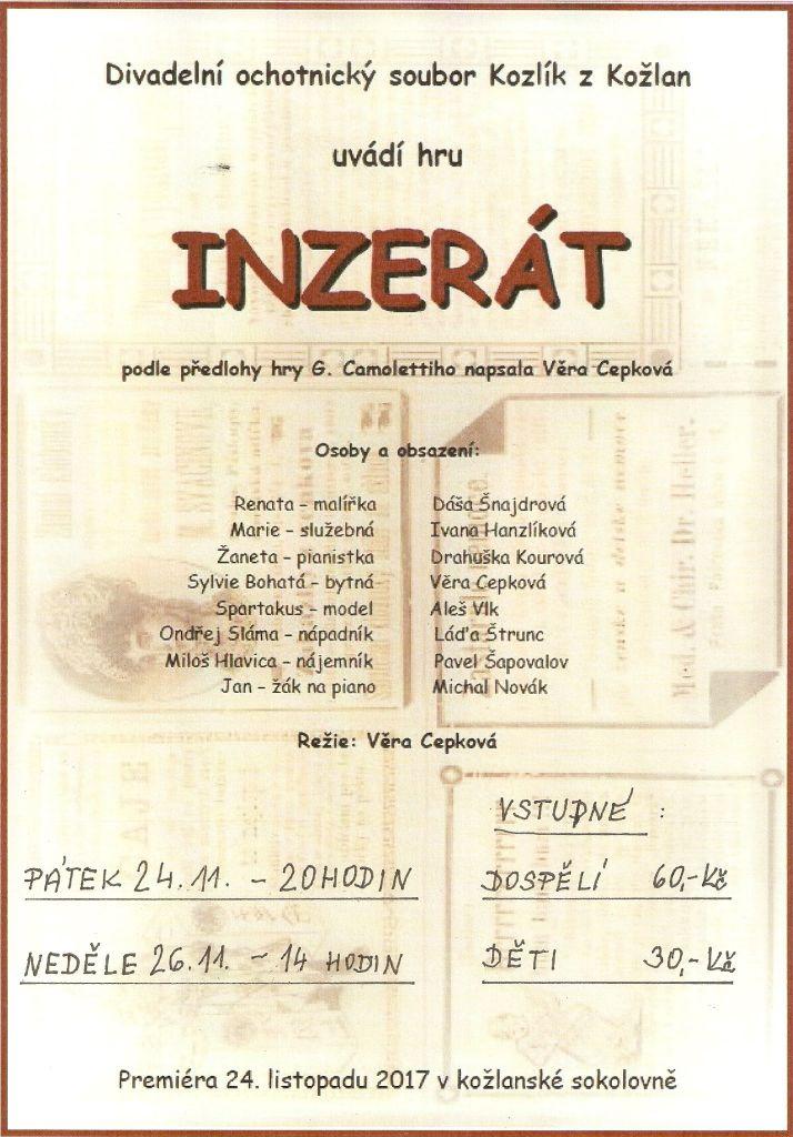 Premiéra divadelní hry INZERÁT - Divadelní ochotnický soubor Kozlík z Kožlan  1