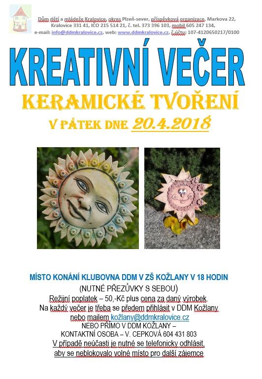 Kreativní večer - keramické tvoření 1