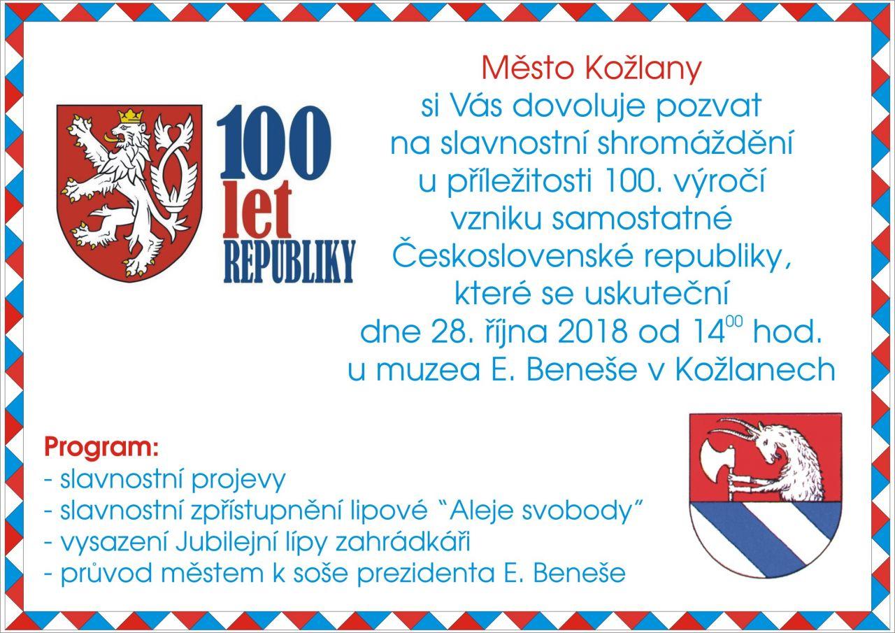 Pozvánka na slavnostní shromáždění u příležitosti 100. výročí vzniku samostatné Československé republiky 1