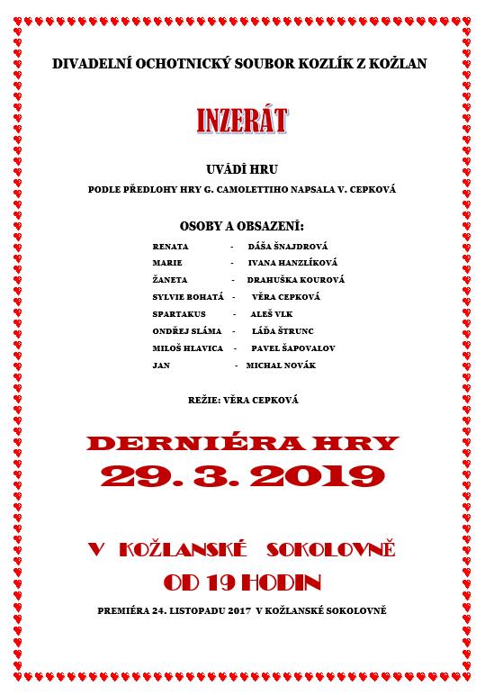 INZERÁT - derniéra divadelní hry 1